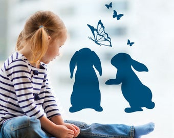 Window screen wall stickers bunny rabbits (M1856)