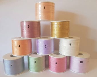 4mm Silk Ribbon 100 metre Spools Assorted Colours