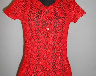 Knitted blouse Birthday gift Handmade Gift Blouse knitted Blouse crochet Crochet Knitted Lace top