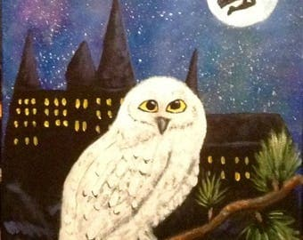 Harry Potter Painting, Hedwig Painting, Owl Painting