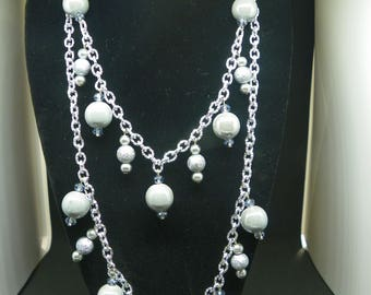 Gray necklace with ceramic beads and crystals, twin adjustable length