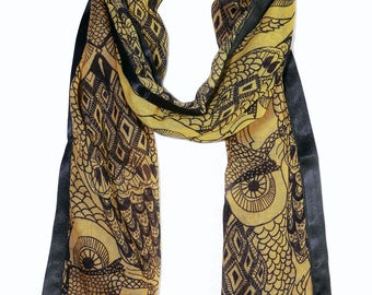 Owl Printed Oblong Scarf