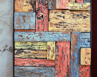 Painting wall decoration, reclaimed wood Assembly