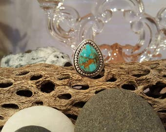 Beautiful color OOAK sterling silver and tuquiose ring.  Size 7.75 - 8.