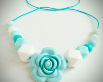 """Portage and breastfeeding """"flower"""" turquoise and white silicone necklace"""