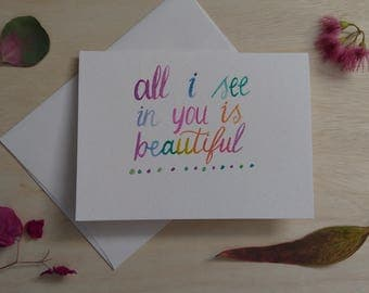 Watercolor Lettering Stationery/ Printed Card+Envelope