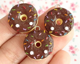 Chocolate Frosted Donut with Rainbow Sprinkes - Polymer Clay Charm