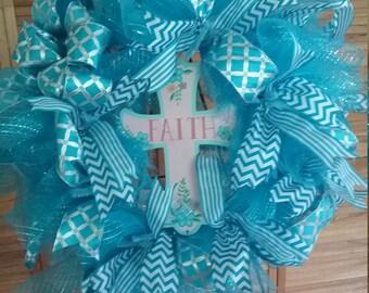 Blue Mesh Wreath