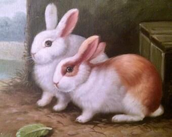Vintage Rabbit Painting - Easter Bunnies