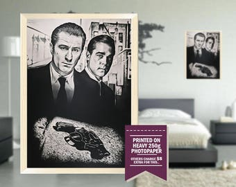 Goodfellas poster, fan art print, goodfellas print, classic, vintage, gift ideas, decor gift, cool movie posters, gray, gangster, 1990