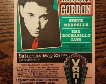1981 Handbill- Robert Gordon in Detroit- Designed by Gary Grimshaw