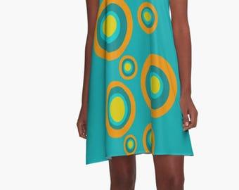 Retro Dress, Womens Gift, Dress, Summer Dress, Party Dress, ,XL Dress, Retro, Mini Dress, Mod Dress, Blue Dress, Casual Dress