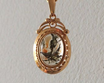 Victorian Antique 14k Yellow Gold Moss Agate Pendant  - includes free chain -