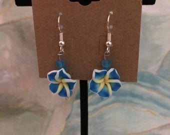 Blue Hawaiian Flower Earrings