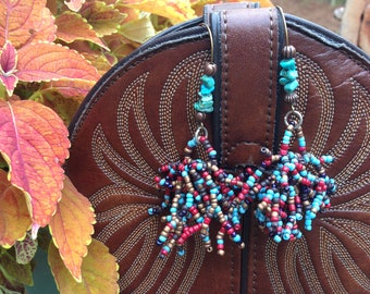 "Cluster Earrings, Multi Seed Beads, Turquoise Nuggets, Bronze French Earwires Lead-Nickel Free,  3.25"" Drop"