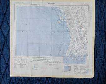 Vintage Silk SAS Escape Scarf Cloth Map from 1950 - ARAKAN // IRRAWADDY