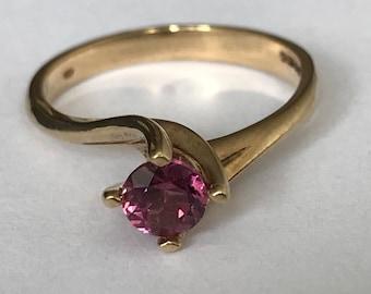 vintage pink tourmaline 9k ct carat gold high set twisted suspension setting pink gem stone ring size US 6.5 UK N faceted modernist