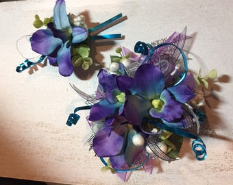 Silk Orchid Prom Wrist Corsage with Matching Boutonniere