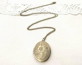 Floral brass locket, antique necklace