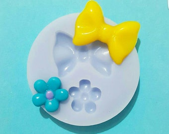 Flexible silicone mold and Pompon flower semi gloss (random color)