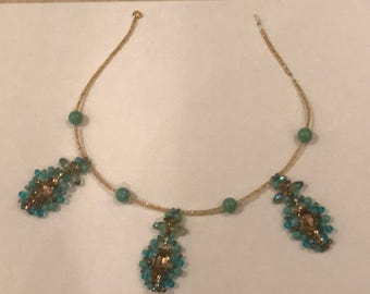 Hand Beaded Necklace Blue and Gold