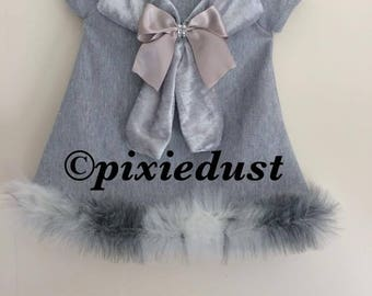 girls grey dress, fur dress, girls dress, knit dress, baby girl dress, first birthday. coming home outfit, summer clothes