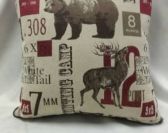 Two 308 rustic lodge throw pillow hunting