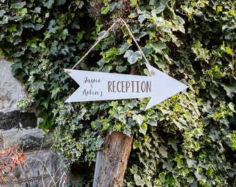 Personalised Wooden Wedding Arrow (in white)