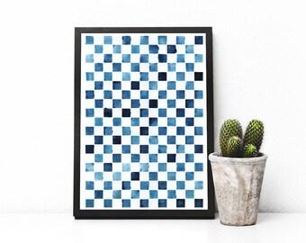 WATERCOLOR Art Print, Geometric Art, Modern Blue Print, Printable Art Print, Home Decor, Office Decor, Minimal Art, Gift, APIROPRINTS