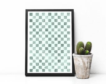WATERCOLOR Grey Art Print, Geometric Print, Checkered Printable Poster, Wall Art Print, Wall Art, Home Decor, Fine Art Print, APIRO PRINTS