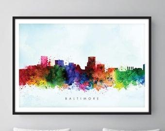 Baltimore Skyline, Baltimore Maryland Cityscape Art Print, Wall Art, Watercolor, Watercolour Art Decor