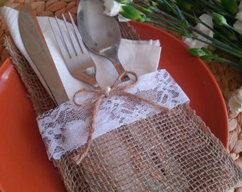 Burlap Lace Silverware Holders, Cutlery Holder Set, Rustic Burlap Flatware Holder, Wedding Table, Dinning Table Decor, Free Shipping!!!