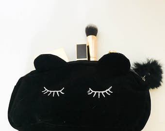 Black Kitty Cat makeup bag