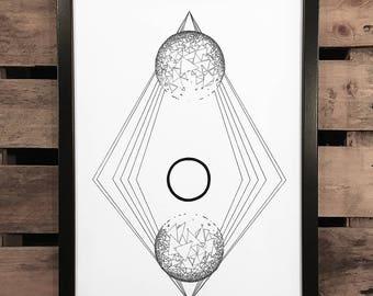 White Space 2, A3 Art Print, Hand Drawn, Original Art