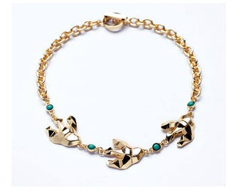 NEW Anthropologie Dover Bird Teal Beaded Gold Chain Necklace