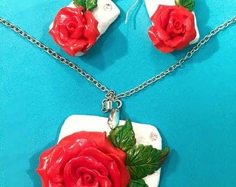 Red Rose Necklace and matching Red Rose earrings, handmade, polymer clay