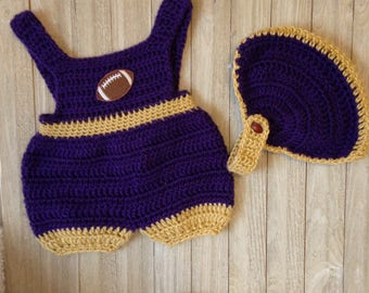 Crochet Newborn to 3 months baby boy romper, Crochet baby clothes, Purple & Gold LSU Geaux Tigers, Summer clothes