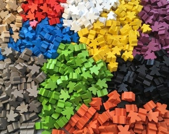 Wooden Meeples / Carcassonne Spares - 16mm x 10 pc per pack - 13 colours available - UK BASED!