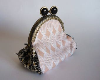 Wallet two-tone tweed and cotton black opal pink powder Pearl clasp.
