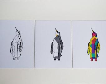 Geometric Penguin - Set of 3