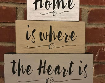 Home is Where the Heart is Stacking Wood Blocks