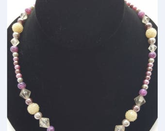Beaded Necklace - Vintage Purple