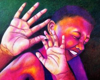 """Original Art Piece- """"Hands Up, Don't Shoot"""" - Black Lives Matter Art- African American Artwork- Emotional Art"""