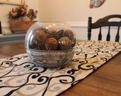 Grey and Black Swirl Design Table Runner