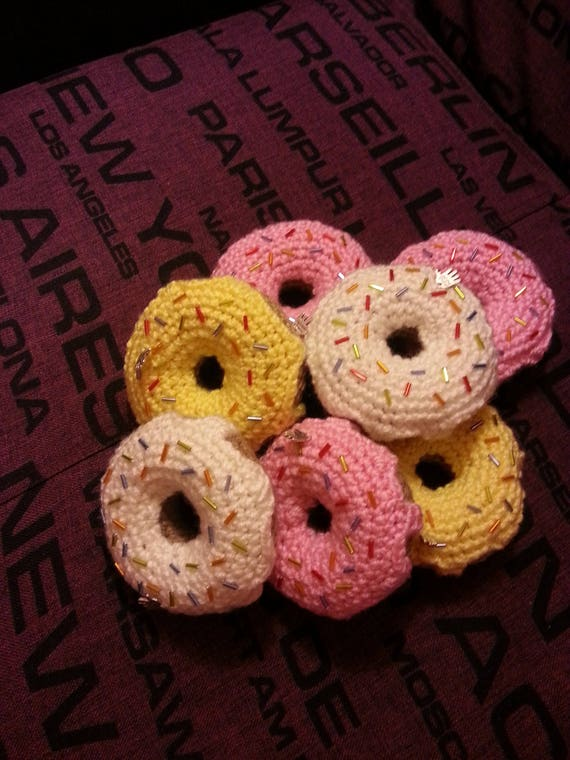 Amigurumi Donut : Crochet Amigurumi Donut Plush Pretend game Tea Party