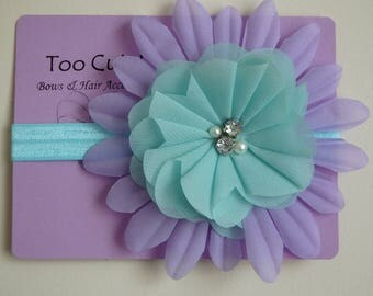Blue and Purple Floral Headband with Rhinestone Pearl Embellishment