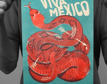 """Post """"Viva Mexico"""" snake / poster / Edwood / Risographie / A4 / 21 x 29,7 cm"""