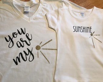Mother, daughter, matching shirts, mother's day, sunshine, fun, soft, comfortable, all sizes, free shipping