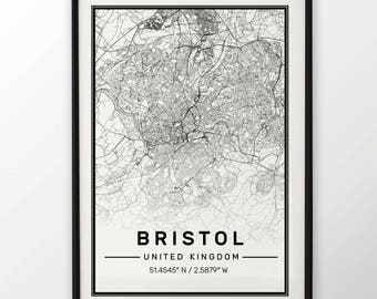 Bristol City Map Print, Modern Contemporary poster in sizes 50x70 fit for Ikea frame All city available London, New york Paris Madrid Rome