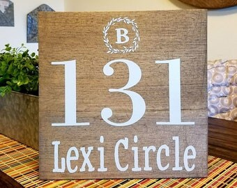 Outdoor House Number Wood Sign